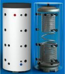PT 1000CF Puffertároló szigeteléssel, 2 db acél csőkígyóval